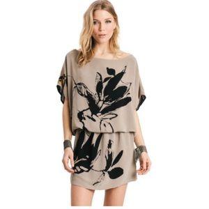 Karen Zambos Dani Mini Dress Taupe Floral Sz S